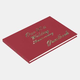 Livre D'or quarantième Typographie rouge d'or d'anniversaire