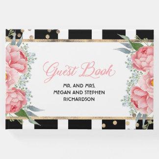 Livre D'or Rose et mariage élégant floral de pivoine d'or