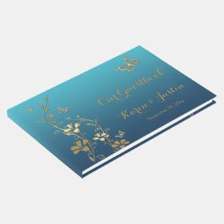 Livre D'or Teal, or floral, papillons épousant le Guestbook