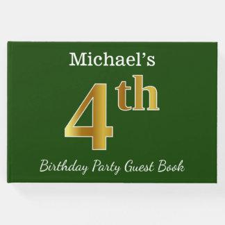 Livre D'or Vert, fête d'anniversaire d'or de Faux 4ème + Nom