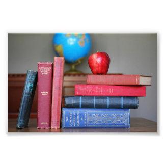 Livres vintages et Apple pour le professeur Impression Photo