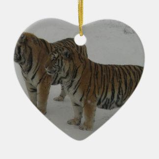 Locations deux tigres sibériens ornement cœur en céramique