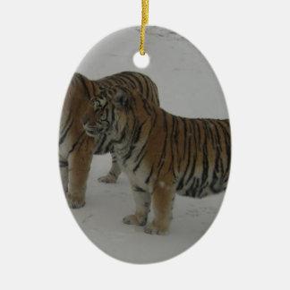 Locations deux tigres sibériens ornement ovale en céramique