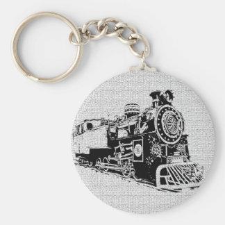 Locomotive noire et blanche porte-clé rond