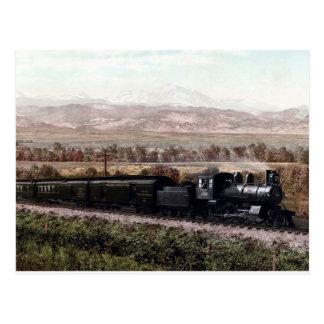 Locomotive vintage, montagnes rocheuses du carte postale