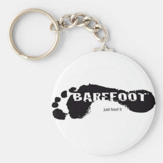 Logo aux pieds nus porte-clé rond