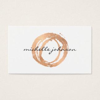 Logo de concepteur de cercle peint par or rose cartes de visite
