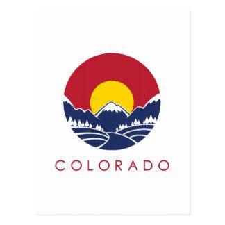Logo de coucher du soleil du Colorado de montagne Carte Postale