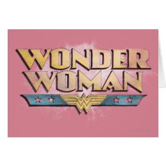 Logo de crayon de femme de merveille carte de vœux