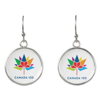 Logo de fonctionnaire du Canada 150 - multicolore Boucles D'oreilles