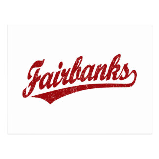Logo de manuscrit de Fairbanks en rouge Carte Postale