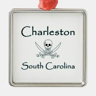 Logo de pirate de Charleston la Caroline du Sud Ornement Carré Argenté