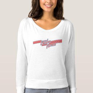 Logo de rayure rouge et bleue de femme de t-shirt