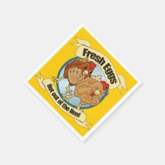 Logo drôle d'oeufs de poulet serviette en papier