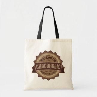 Logo grunge de Brown d'insigne d'amant de chocolat Tote Bag
