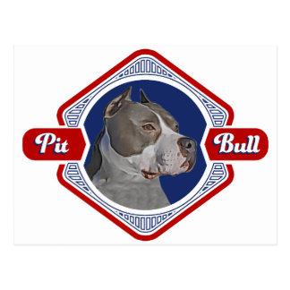 Logo patriotique de chien de pitbull carte postale