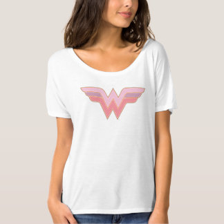 Logo rose et orange de femme de merveille de t-shirt