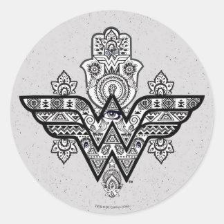 Logo spirituel de Paisley Hamsa de femme de Sticker Rond
