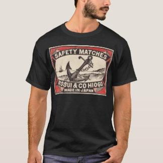 Logo vintage de boîte d'allumettes d'ancre t-shirt
