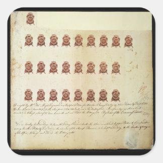 Loi 1765 de timbre une feuille de preuve de timbre autocollants carrés