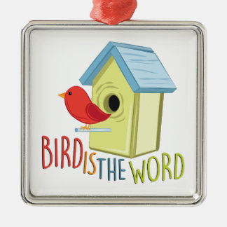 L'oiseau est mot ornement carré argenté