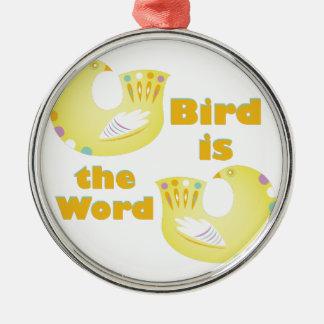 L'oiseau est mot ornement rond argenté