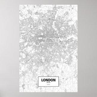Londen, zwart Engeland (op wit) Poster
