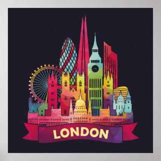 Londres - voyage aux points de repère célèbres poster