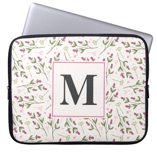 Long monogramme de fleurs sauvages de tige de rose housse pour ordinateur portable