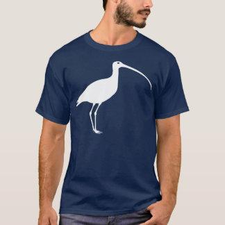 Long oiseau affiché blanc de courlis cendré t-shirt