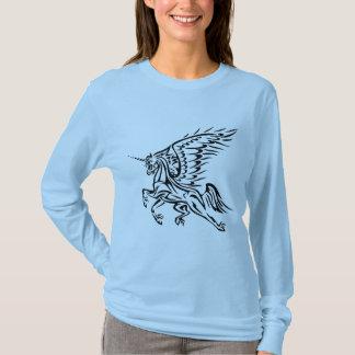 Long T-shirt de douille de Pegasus-Licorne tribale