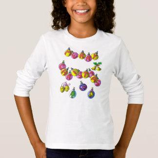 Long T-shirt imprimé de douille ; Joyeux Noël
