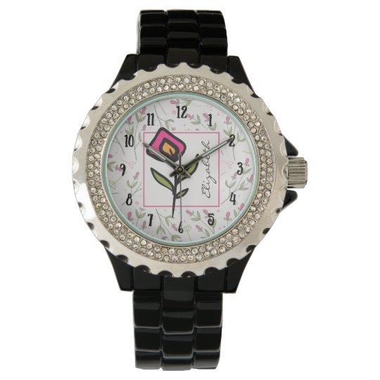 Longs fleurs sauvages de tige de rose et de vert montres bracelet