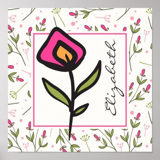 Longs fleurs sauvages de tige de rose et de vert poster
