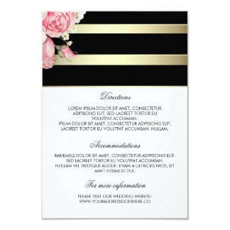 L'or barre les détails floraux de mariage - carton d'invitation 8,89 cm x 12,70 cm