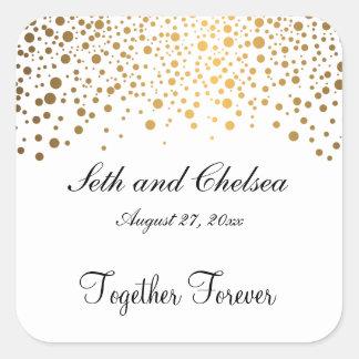L'or de jour du mariage pointille | personnalisent sticker carré