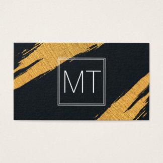 L'or de monogramme marque de doubles boîtiers cartes de visite