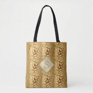 L'or élégant laisse le sac fourre-tout à