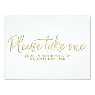 """L'or élégant """"prennent svp un"""" signe de faveurs de carton d'invitation  16,51 cm x 22,22 cm"""