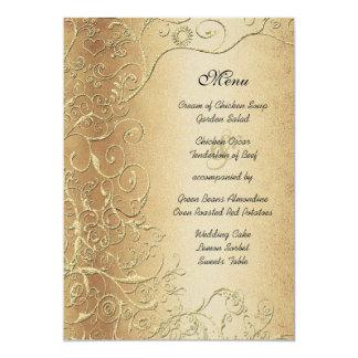 L'or élégant tourbillonne menu noir de mariage de carton d'invitation  12,7 cm x 17,78 cm