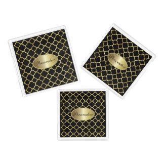 L'or et Quatrefoil noir   personnalisent Plateau En Acrylique