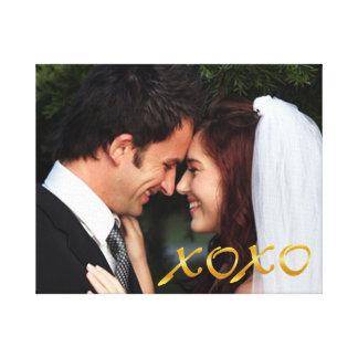 L'or étreint et embrasse la photo de mariage toiles