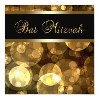 L'or noir bouillonne bat mitzvah carton d'invitation  13,33 cm