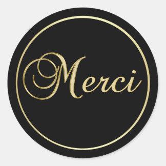 L'or noir élégant MERCI marque des autocollants
