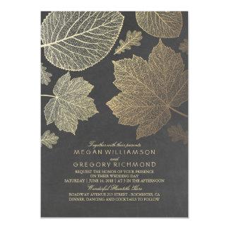 L'or part du mariage de automne rustique vintage carton d'invitation  12,7 cm x 17,78 cm