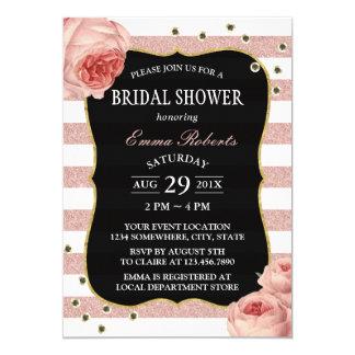 L'or rose floral vintage barre la douche nuptiale carton d'invitation  12,7 cm x 17,78 cm