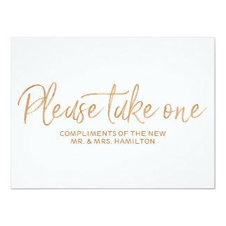"""L'or s'est levé """"prennent svp un"""" signe de faveurs carton d'invitation  16,51 cm x 22,22 cm"""