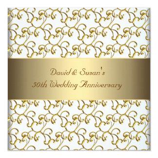 L'or tourbillonne fête d'anniversaire de mariage carton d'invitation  13,33 cm
