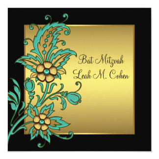 L'or turquoise fleurit le bat mitzvah noir d'or carton d'invitation  13,33 cm