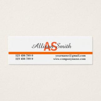 L'orange professionnelle décorée d'un monogramme mini carte de visite